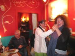 A friend and Becks dancing